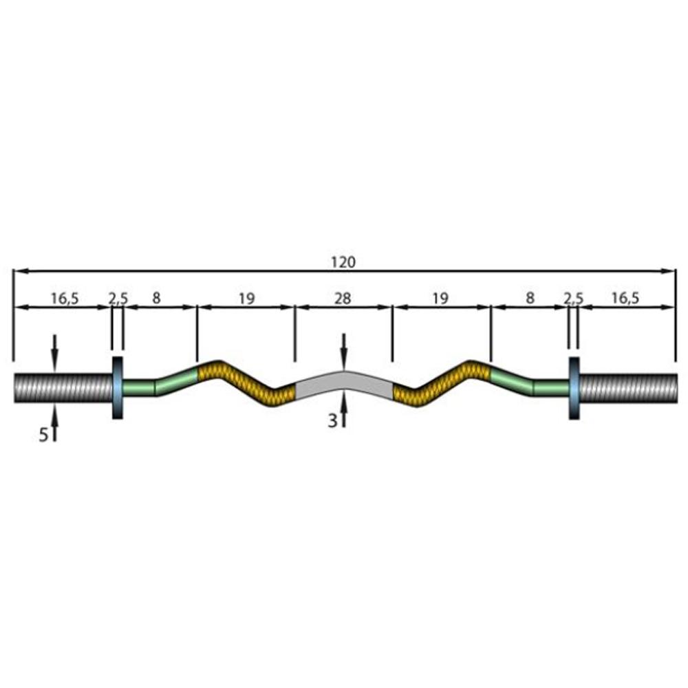 Davina Dumbbell Set: Olympic Curl Bar Weight: 8 KG Length: 120 CM