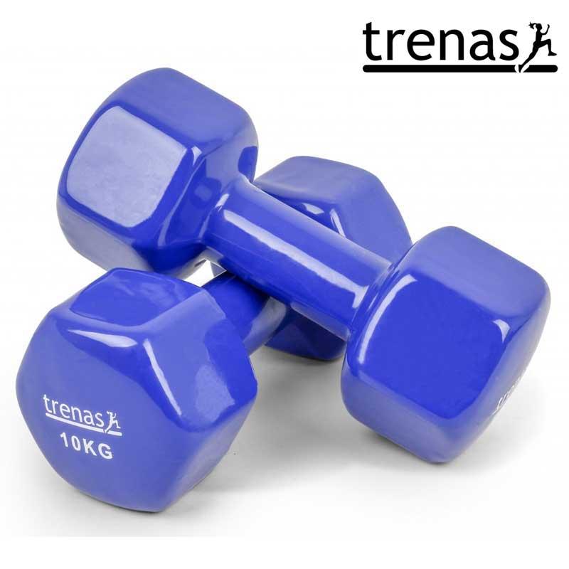 Davina Dumbbell Set: TRENAS Aerobic Dumbbell Set Color: Blue Weight: 2 X 10 KG