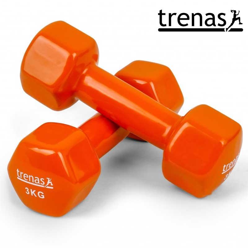 Davina Dumbbell Set: TRENAS Aerobic Dumbbell Set Color: Orange Weight: 2 X 3 KG