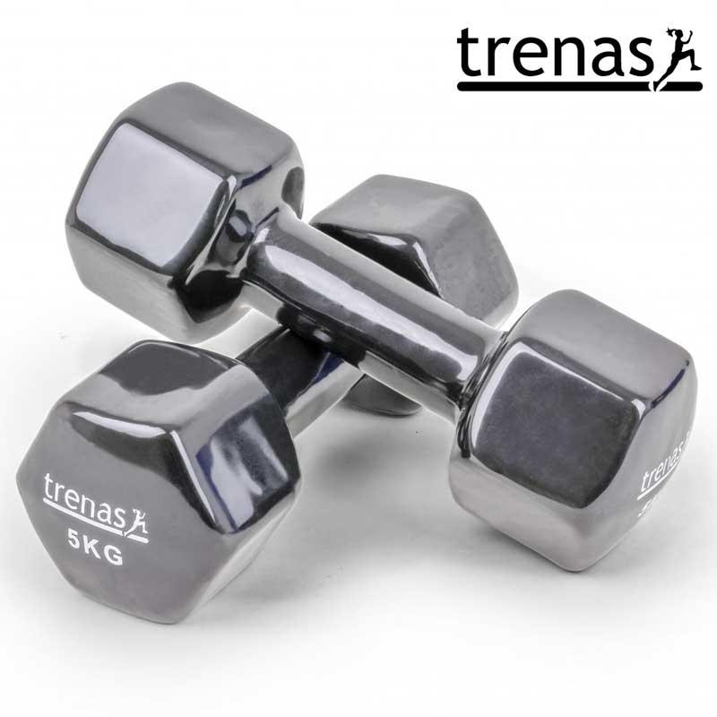 Davina Dumbbell Set: TRENAS Aerobic Dumbbell Set Color: Black Weight: 2 X 5 KG