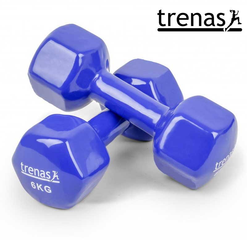Davina Dumbbell Set: TRENAS Aerobic Dumbbell Set Color: Blue Weight: 2 X 6 KG