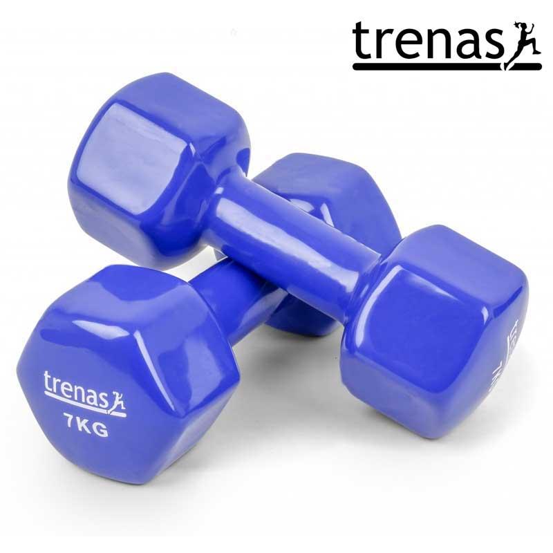 Davina Dumbbell Set: TRENAS Aerobic Dumbbell Set Color: Blue Weight: 2 X 7 KG