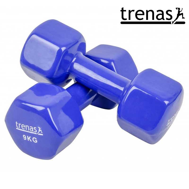 Davina Dumbbell Set: TRENAS Aerobic Dumbbell Set Color: Blue Weight: 2 X 9 KG